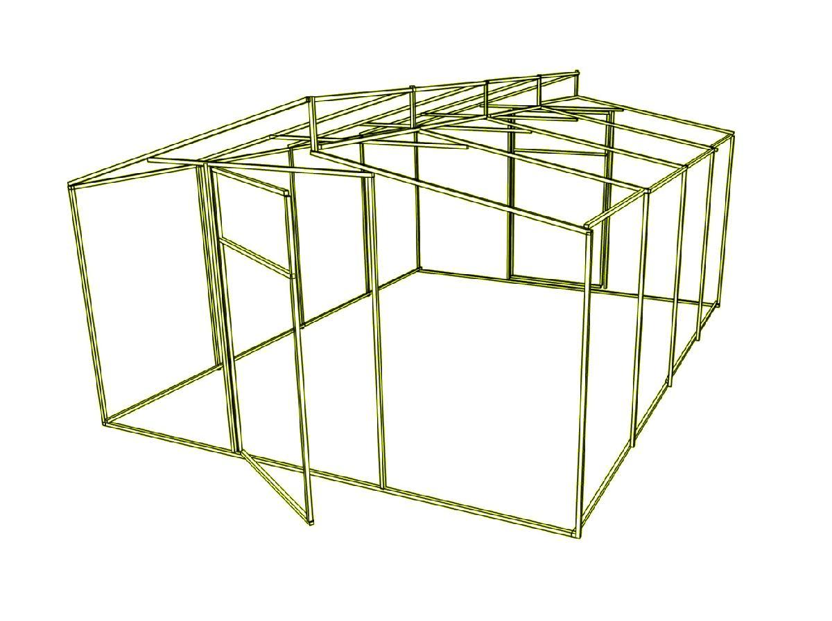 Дод. секція на каркас теплиці Мітлайдера (без полікарбонату) 400x200x235см